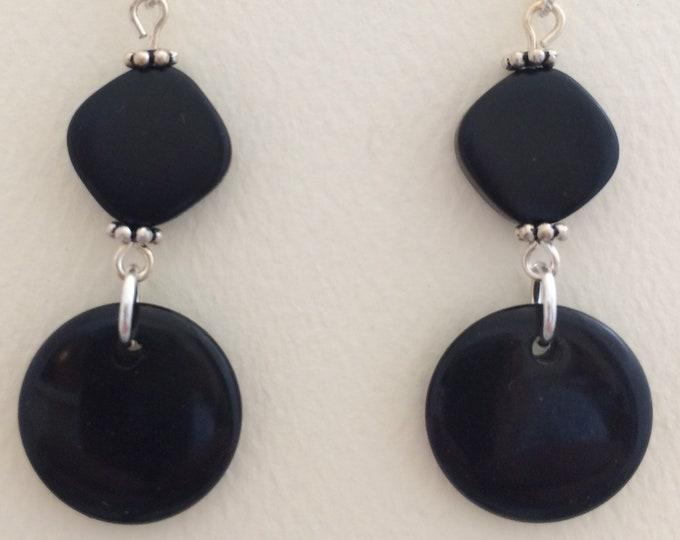 Black Tagua Nut Earrings