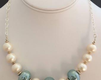 Freshwater Pearl & Green Glass