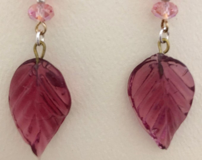 Pink Glass Leaves