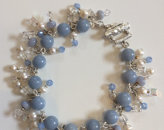 Fringed Chalcedony, Pearls & Crystals