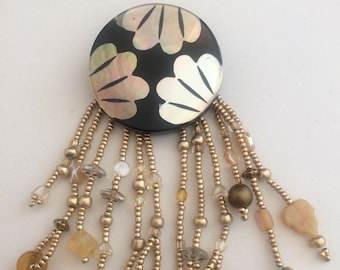 Beautiful Button Pin with Bead Fringe