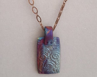 Raku Pendant on Beautiful Copper Chain