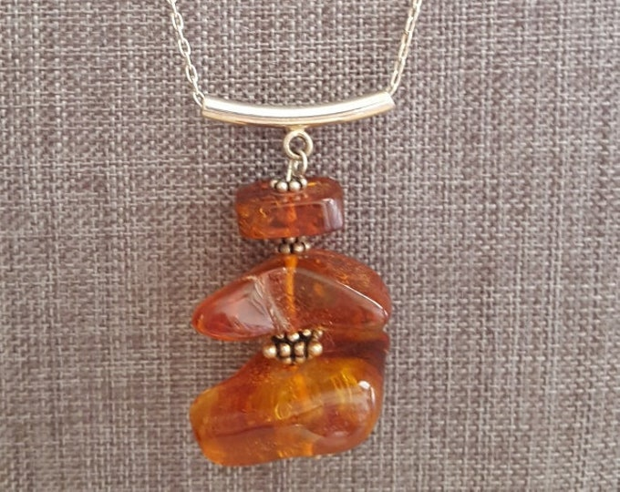 Triple Amber Nugget Necklace