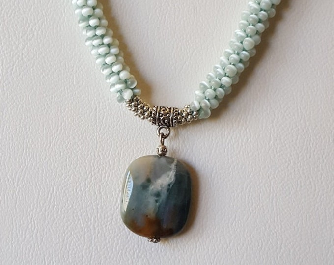 Pale Green Kimihimo Beaded Necklace