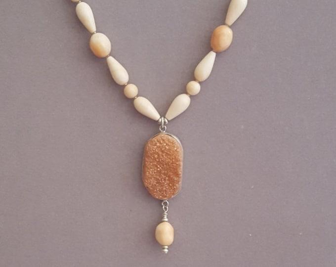 Corneola and Druzy Necklace