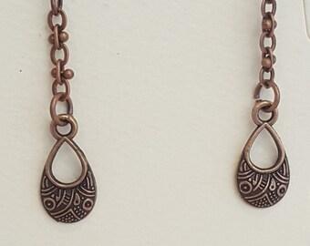Delicate Copper Drop Earrings