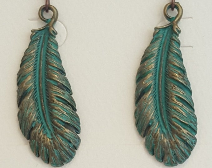 Feather Vertigris and Copper Earrings