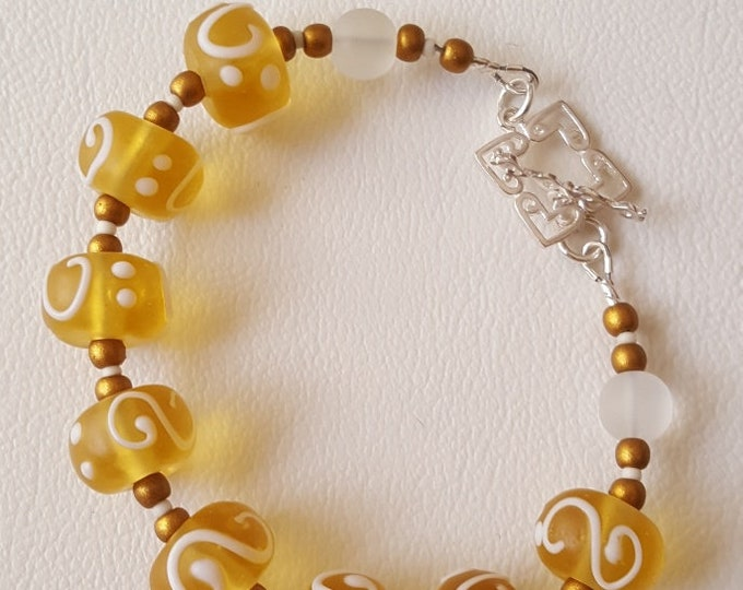 Yellow with White and Gold Bracelet