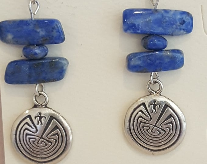 Lapis and Sterling Silver Southwest Charm Earrings