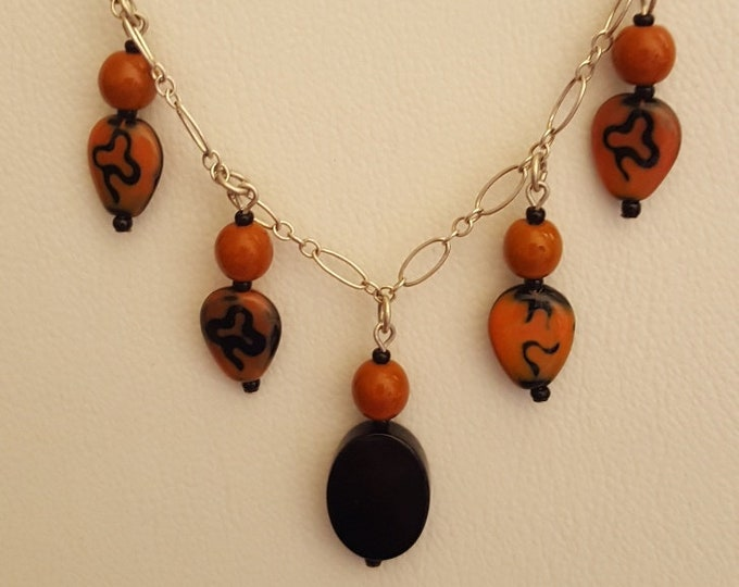 Onyx Drop with Hand Designed Bead Necklace