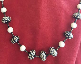 Black and Cream Beaded Necklace