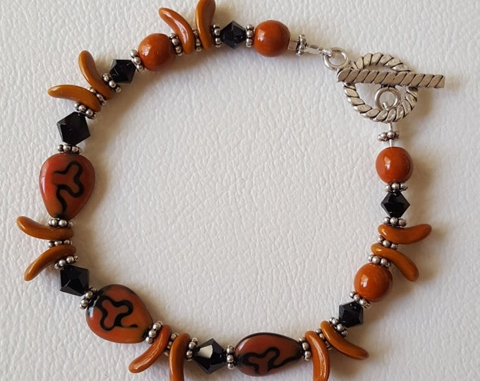 Rust and Black with Swarovski Bracelet