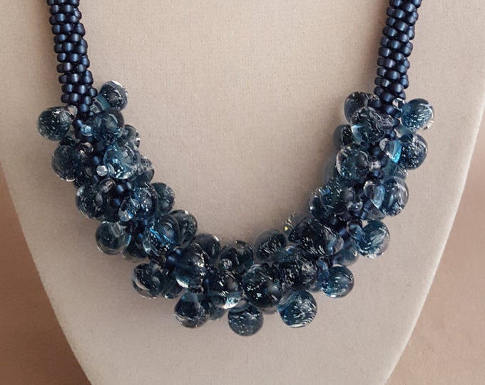 Kumihimo with Blown Glass Blue Beads