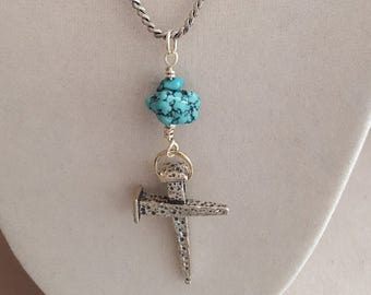 Turquoise and Sterling Silver Cross Necklace