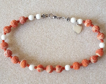 Coral and Cow Bone Anklet with Sterling Heart