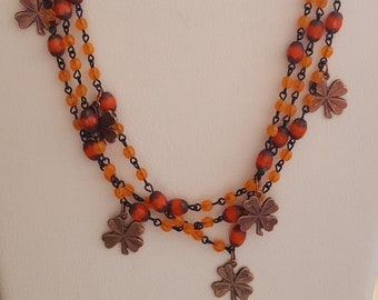 Copper Shamrocks on Czech Beaded Chain Necklace