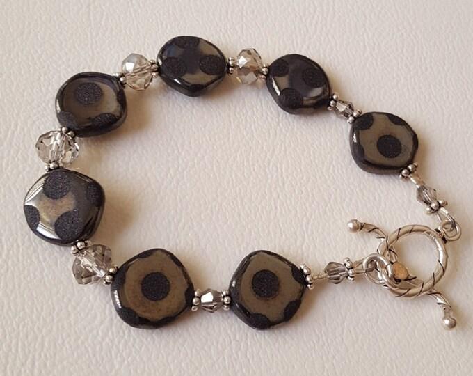 Shades of Gray Peacock Bead Bracelet