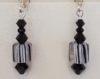 Black and White Furnace Glass Earrings