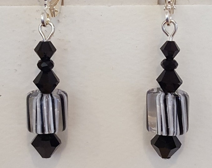 Black and White Furnace Glass Earrings