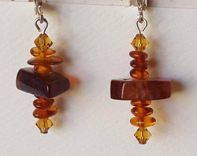 Amber and Swarovski Earrings