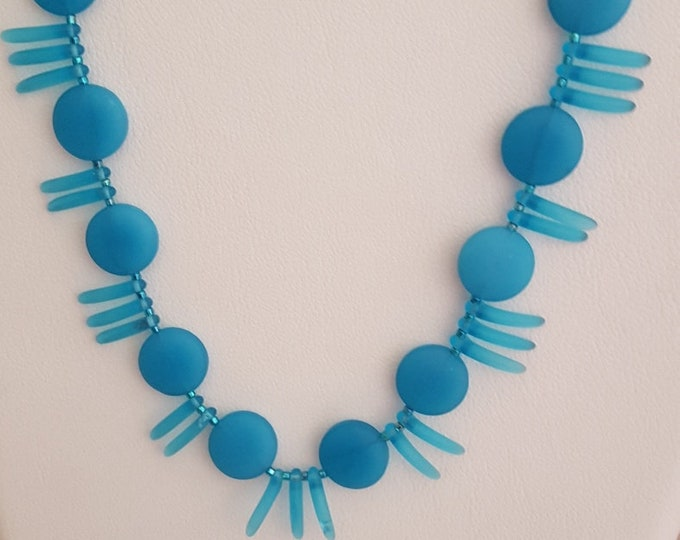 Aqua Beach Glass Necklace