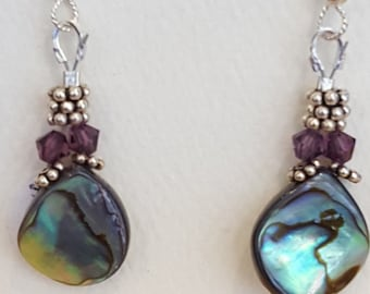 Abalone and Swarovski Earrings