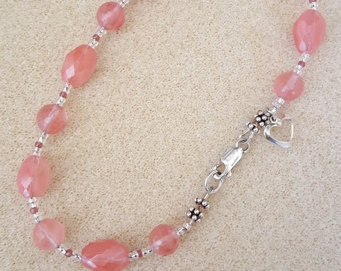 Pink Quartz Anklet with Sterling Silver Heart