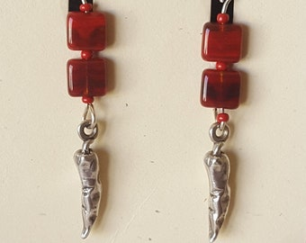 Sterling Silver Chilli Pepper Earrings with Red