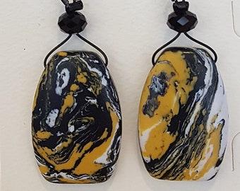Black and Yellow Jasper Earrings