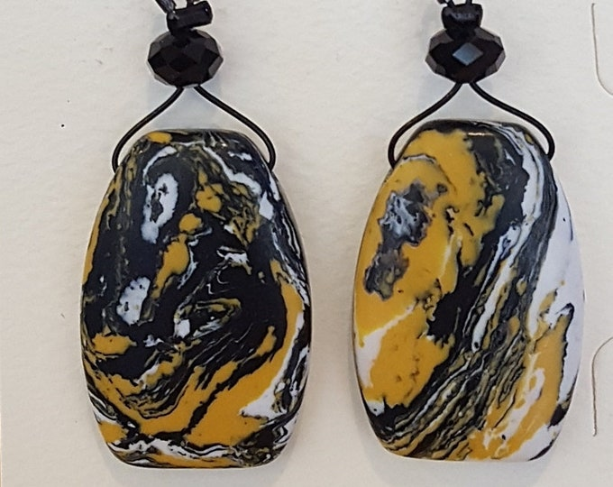 Black and Yellow Jasper Earrings
