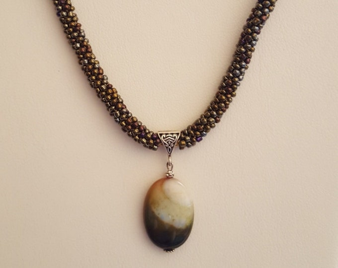 Iridescent Earth Color Kimihimo Necklace