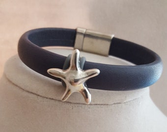 Blue Leather Bracelet with Silver Star