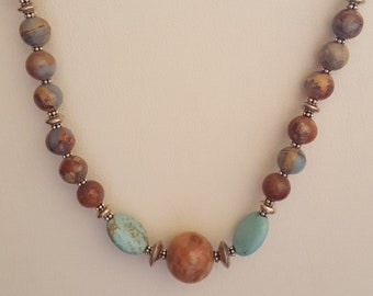 Turquoise and Maple  and Owyhee Jasper Necklace