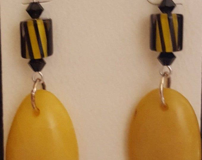 Yellow Tagua Nut and Swarovski Earrings