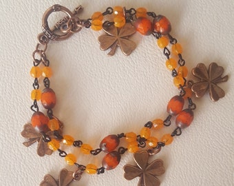 Czech Beads with Copper Shamrock