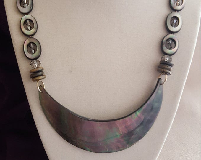 Abalone and Czech Glass with Swarovski Beads Necklace