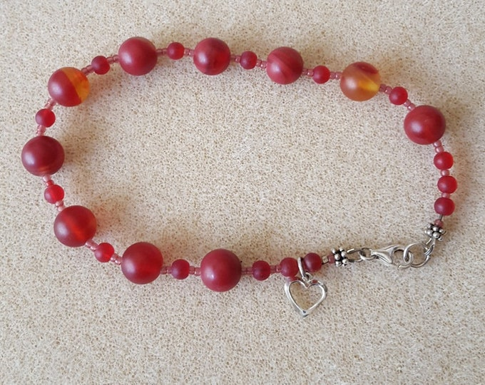 Matte Red Beaded Anklet with Sterling Heart