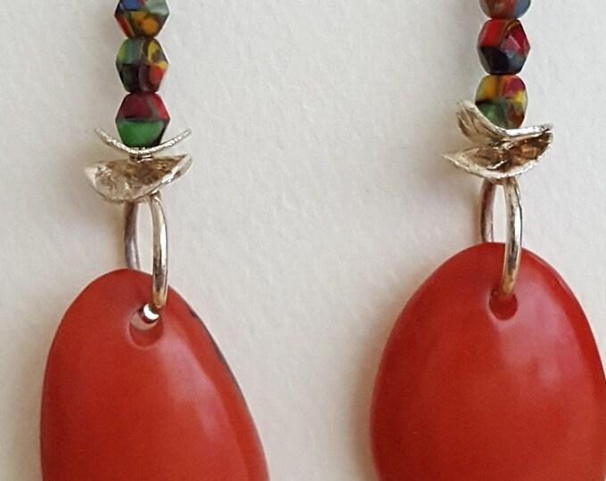 Rosie Red Tagua Nut Earrings