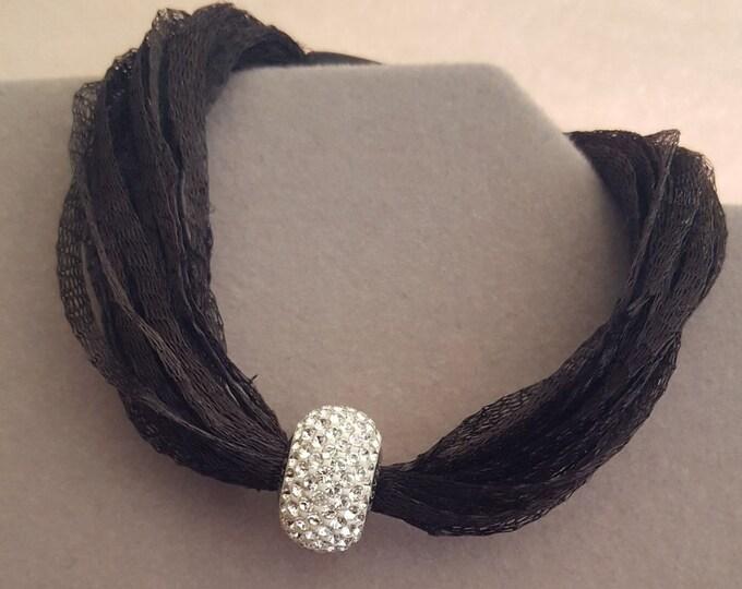 Swarovski and Ribbon Bracelet