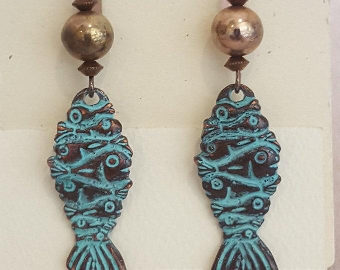 Vertigris Fish and Copper Earrings