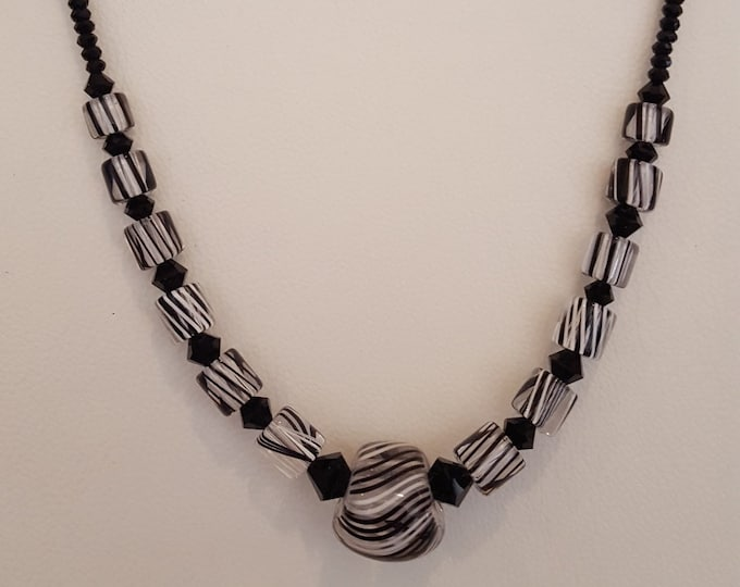 Black and White Furnace Glass Necklace
