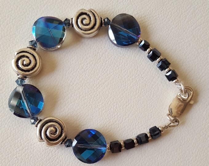Blue Swarovski and Sterling Silver Bracelet