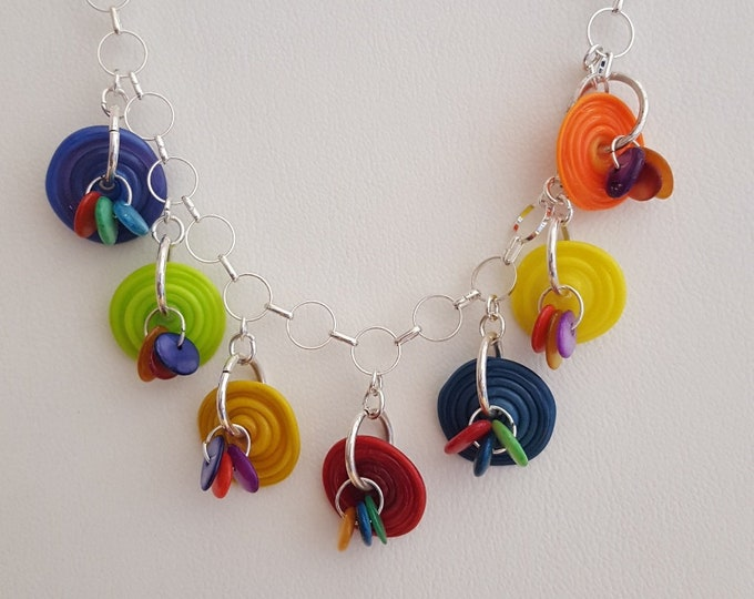 Funky Multicolor Handmade Glass Saucer Necklace