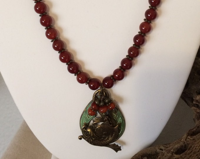 Carnelian & Verdigris with Natural Brass
