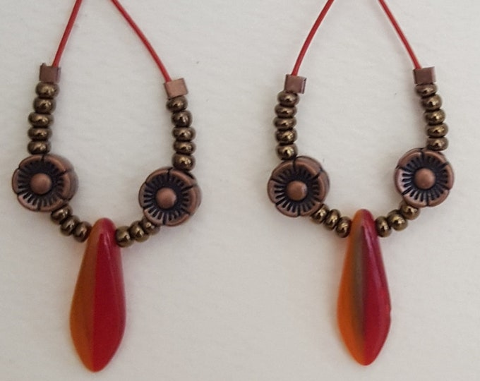 Two Tone Bead Spears with Copper Earrings