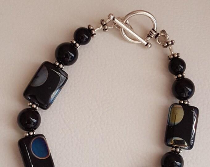 Black Onyx and Peacock Bead Bracelet