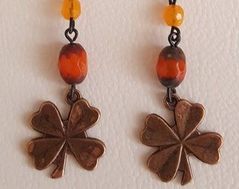 Copper Shamrock and Czech Beads
