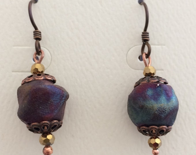 Rustic Raku Ball Earrings