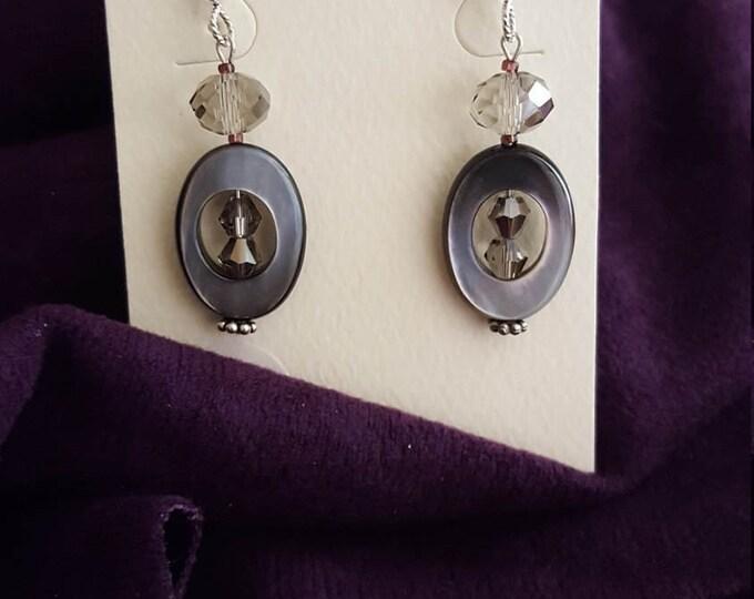 Abalone, Czech Glass, Swarovski and Sterling Earrings