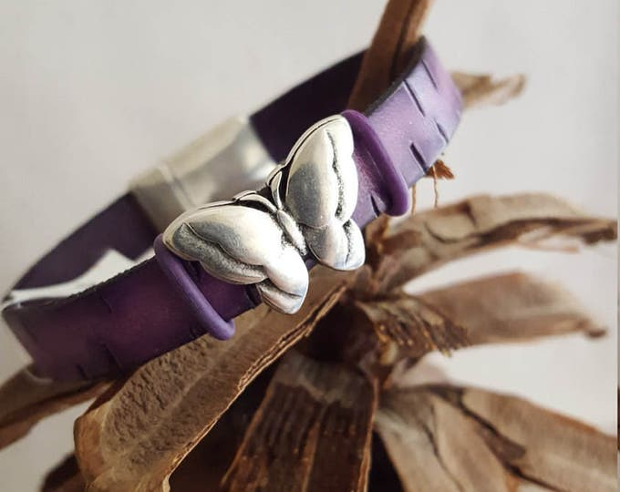 Purple Leather Bracelet with Butterfly